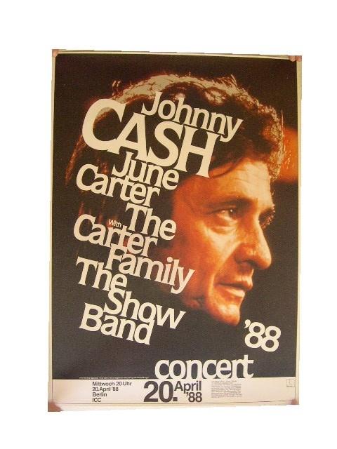 johnny cash poster concert berlin profile 1988 ebay. Black Bedroom Furniture Sets. Home Design Ideas